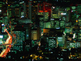 Cityscape at Night, Seoul, South Korea Photographic Print by Martin Moos
