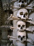 Bones of Monks and Plague Victims in Chapel Cellar of Ossuary in Sedlec Cloister, Czech Republic Photographic Print by Martin Moos