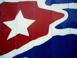 Cuban Flag Painted on Wall, Varadero, Matanzas, Cuba Photographic Print by Martin Lladã³