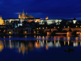 Vltava River at Night from Charles Bridge of Prague Castle, Prague, Czech Republic Photographic Print by Richard Nebesky