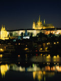 Vltava River from Charles Bridge of Prague Castle, at Night, Prague, Czech Republic Photographic Print by Richard Nebesky