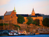 Boats Moored Below Akershus Fort and Castle, Oslo, Norway Photographic Print by Anders Blomqvist