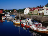Boats Moored in Channel, Kabelvag, Norway Photographic Print by Craig Pershouse