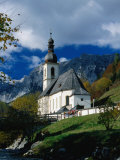 Ramsau Church Above Ramsauer Arche Stream, Berchtesgaden, Germany Photographic Print by Martin Moos