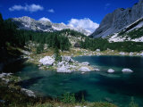 Overhead View of Double Lake, House and Mountains, Triglav National Park, Slovenia Photographic Print by Grant Dixon