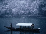 A Traditional Leisure Boat During a Snowfall at Arashiyama West of Kyoto, Kyoto, Kinki, Japan, Photographic Print by Frank Carter