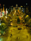 Wenceslas Square at Night in New Town, Blur, Prague, Czech Republic Photographic Print by Richard Nebesky