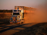 Road Train Driving along Dusty Road, Kynuna, Australia Photographic Print by Holger Leue