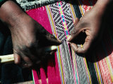 Hands Doing Traditional Weaving, Peru Photographic Print by Richard I'Anson