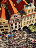 Looking Down on Crowds Outside Town Hall, Prague, Czech Republic Photographic Print by Jonathan Smith