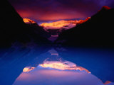 Stormy Alpenglow Lights Up Mt. Victoria and Lake Louise, Banff National Park, Alberta, Canada Photographic Print by Gareth McCormack