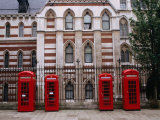 Red Telephone Boxes Outside Building Near the Inns of Court, London, United Kingdom Photographic Print by Rick Gerharter