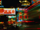 Neon Signs on Nathan Road, Tsim Sha Tsui, Blur, Hong Kong Photographic Print by Richard Nebesky