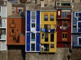 Brightly Painted Houses at La Vila Joiosa, Near Benidorm, Benidorm, Valencia, Spain Stampa fotografica di Mark Daffey