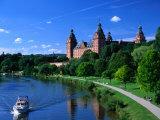 Renaissance Johannisburg Castle on Banks of Main River in Town of Aschaffenburg, Bavaria, Germany Fotografisk trykk av Dennis Johnson