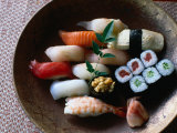 Sushi in a Wooden Bowl, Japan, Photographic Print by Glenn Beanland