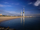 Kuwait City Water Towers on Seafront, Kuwait, Kuwait Photographic Print by Izzet Keribar