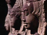 "Detail of Head Carving of Seated Apsaras, or ""Heavenly Nymph,"" Angkor, Siem Reap, Cambodia Photographic Print by Tom Cockrem"
