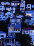 Houses on Hillside at Oriental Bay, Wellington, Wellington, New Zealand Fotografisk tryk af Paul Kennedy