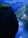 Fjord Ferry and Seven Sisters Waterfall, Geiranger, Norway Photographic Print by Anders Blomqvist