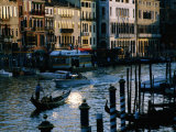 Traditional Gondola Amongst Traffic on Grand Canal, Venice, Italy Photographic Print by Manfred Gottschalk