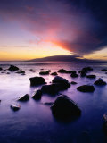 Sunset Over the Island of Lanai Viewed from West Maui, Lanai, Hawaii, USA Photographic Print by Karl Lehmann