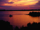 Boat on Mississippi River at Sunset, Memphis, USA Photographic Print by Richard I'Anson