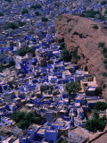 Famous Blue-Washed Houses Seen from Clifftop Meherangarh Fort, Jodhpur, India Photographic Print by Frances Linzee Gordon