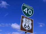 Road Sign on Old Route 66 at Texas-New Mexico Border, USA Photographic Print by Oliver Strewe