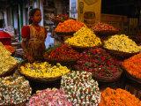Flower Seller at the New Market., Kolkata, West Bengal, India Fotografisk tryk af Greg Elms