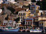 Buildings Overlooking the Harbour, Symi Island, Greece Lámina fotográfica por Izzet Keribar