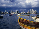 Fishing Boats on the Bahia de Panama and Punta Paitilla Skyline in Background, Panama City, Panama, Photographic Print