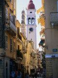 Apartment Buildings with St. Spyridon's Belltower Behind, Corfu Town, Greece Fotografie-Druck von John Elk III