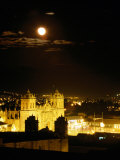La Catedral on Plaza De Armas with Rising Moon, Cuzco, Peru Photographic Print by Ryan Fox