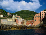 Sea Approach to Town in the Cinque Terre, Vernazza, Liguria, Italy Photographic Print by Diana Mayfield