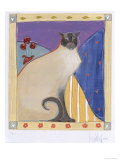 Siamese Cat with Flowers Print by Heather Ramsey