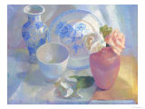 Porcelain Vase & Rose Giclee Print by Carolyn Biggio