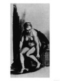 Seated Female Nude, Drawing, British Museum, London Giclee Print by  Rembrandt van Rijn