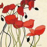 Poppies and Cream I Prints by Shirley Novak