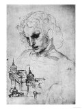 Study of a Head and of an Architectural Structure, Windsor Castle Giclee Print by  Leonardo da Vinci