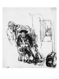 Figure of a Seated Old Man with a Maid, British Museum, London Giclee Print by  Rembrandt van Rijn