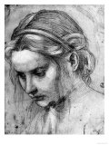 Face of a Woman with Ruffled Hair, Looking Down Giclée-tryk af Andrea del Sarto