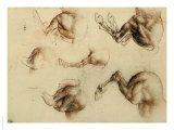 Study of Running Horses, Drawing, Royal Library, Windsor Premium Giclee Print by  Leonardo da Vinci