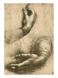 Study of Female Hands, Drawing, Royal Library, Windsor Reproduction procédé giclée par Leonardo da Vinci