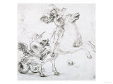 St. George and the Dragon, Drawing, Gabinetto Dei Disegni E Delle Stampe, Uffizi Gallery Giclee Print by Raphael