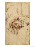 Grotesque Profile of a Man with Hat, Pen Drawing on Paper Turned Yellow, Royal Library, Windsor Giclee Print by  Leonardo da Vinci