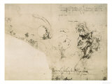 Sketches of Male Faces Giclee Print by  Leonardo da Vinci