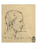 Study of the Proportions of a Human Face, Drawing, Royal Library, Windsor Premium Giclee Print by  Leonardo da Vinci
