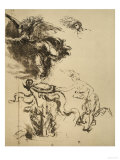 Study of a Female Figure Next to an Altar and a Flying Genius (Allegory of Fortune) Giclee Print by  Leonardo da Vinci