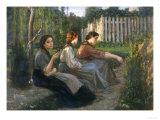Young Peasant Women Talking, Galleria d'Arte Moderna, Palazzo Pitti, Florence Reproduction procédé giclée par Cristiano Banti